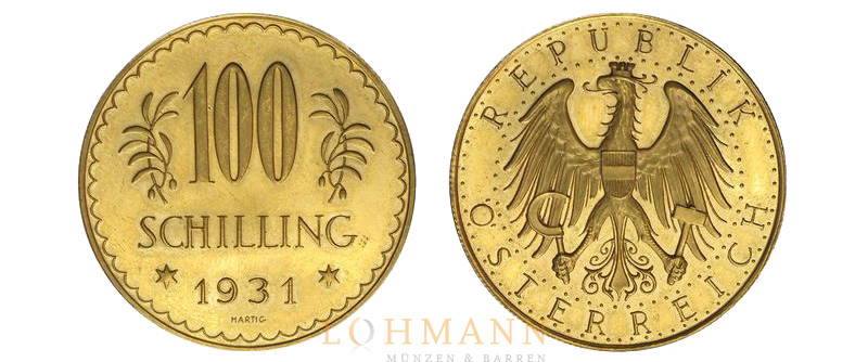 25 Und 100 Schilling Gold Alpendollar Anlagemünzen Aus österreich